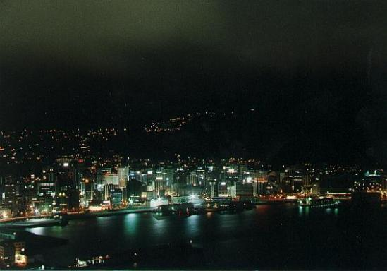 Wellington, Neuseeland, vom Mount Victoria aufgenommen, 1988